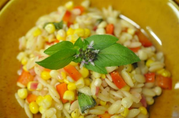 Basil, Corn, Orzo Salad With Basil Garnish