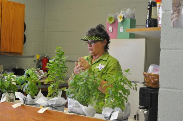 Paula With 6 Varieties of Basil for Class