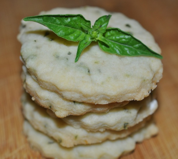 Basil Lime Shortbread With Basil Sprig