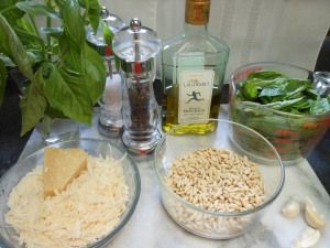 Ingredients for Making Basil Pesto