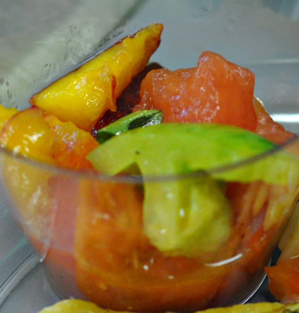 Peach, Watermelon, and Tomato Salad With Mint And Basil