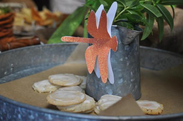 Lemon Verbena Cookies on a tray with dragonfly decoration