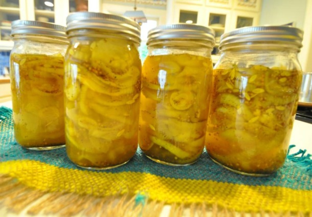 Jars of Cucumbers on the kitchen counter