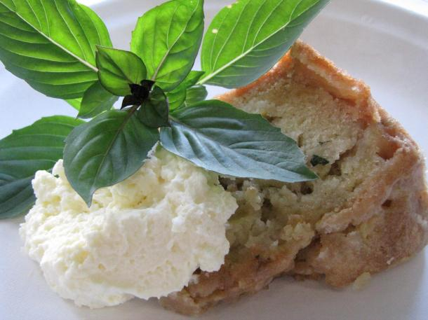 Apple Basil Cake With Cinnamon Spiked Whipped Cream And Basil Garnish