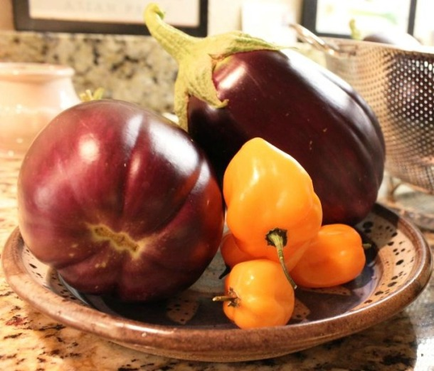 Eggplants And Habaneros On The Kitchen Counter