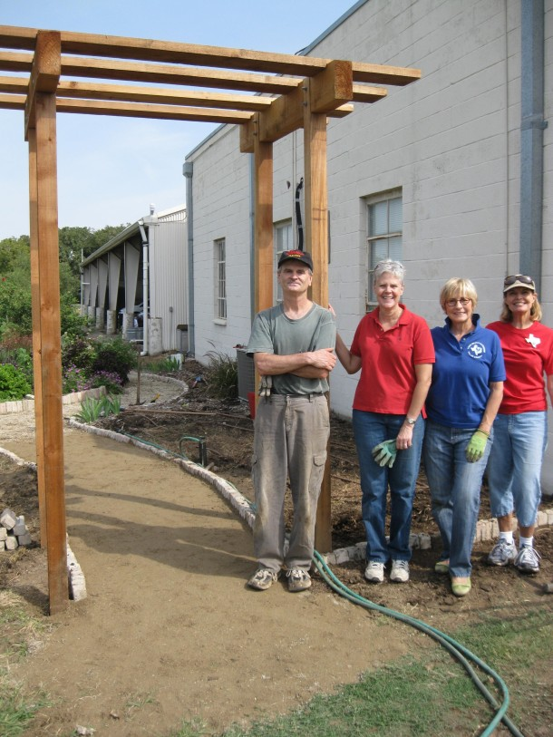 New Arbor Leading Into The Raincatcher's Garden, Susan, Jan, Abbe, Hans