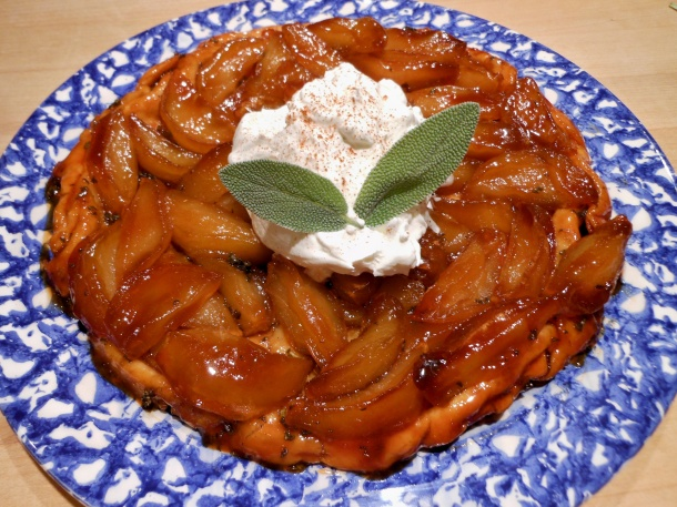 Apple-Sage Tarte Tatin With Sweeetened Whip Cream and Sage Garnish