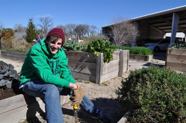 Student Helper At The Demonstration Garden on Joe Field Road