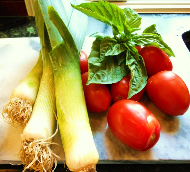 Leeks, Tomatoes, Basil for Tart