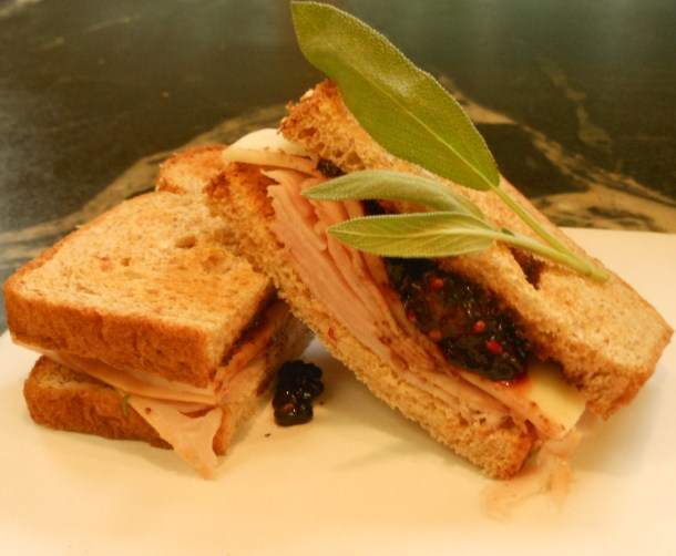 Smoked turkey, mozarella and blackberry sandwiches