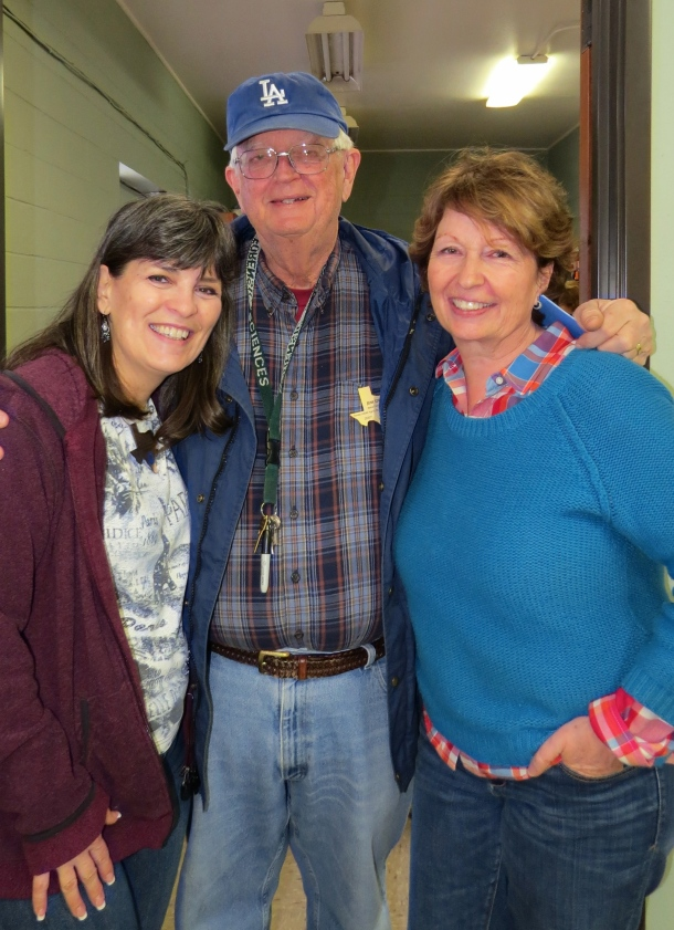 February birthday gardeners Kim Kirkhart and Jim Dempsey celebrate with Ann Lamb
