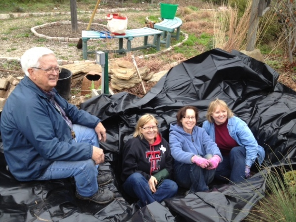 Dallas County Master Gardeners: Jim, Starla, Sue, and Michele  Taking A Rest After Digging the Pond
