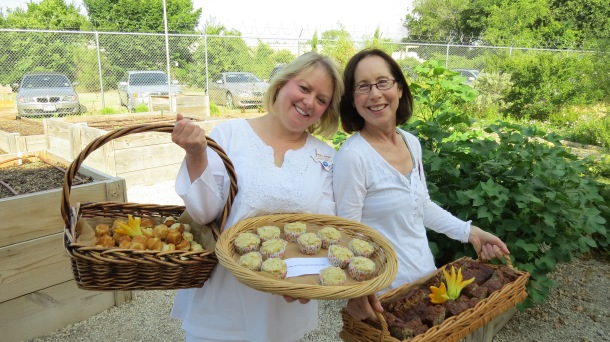Michele and Sue Serving Squash Muffins with and without Gluten and Banana  Zucchini  Bread