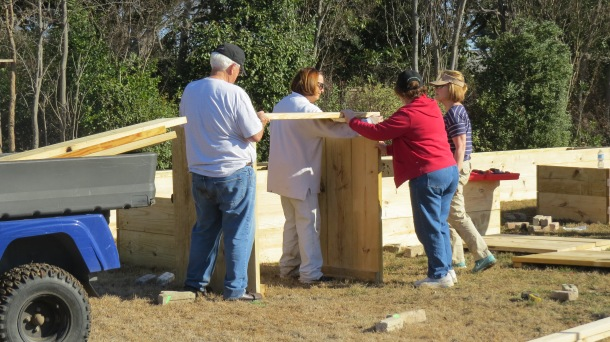 Here we are, beginning to build our raised beds-Jim, Judy, Dorothy, Elizabeth