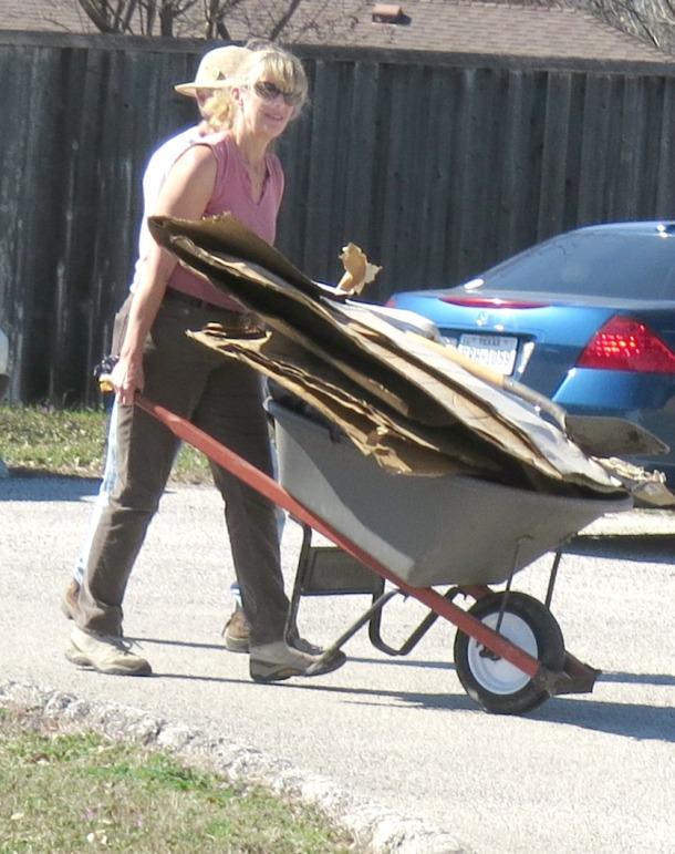 Lisa Hauling Cardboard to The Raincatcher's Garden