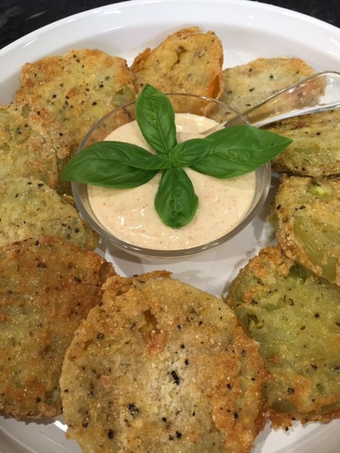 Fried Green Tomatoes with Aioli Sauce