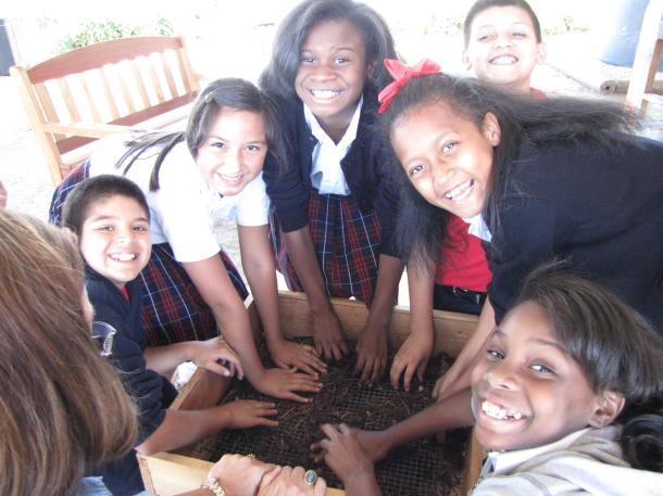 West Dallas Community School Kids Enjoying a Field Trip to The Raincatcher's Garden