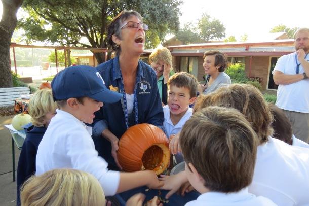 Pumpkin Goop and Pumpkin Carving with EDS kids