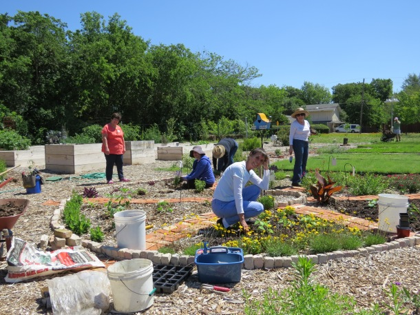 Maves, Elizabeth, Cynthia, Linda, Annette Planting the Color Wheel