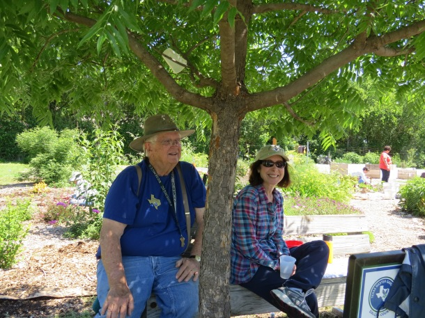 Jim and Lisa Taking a Break from Planting Zinnias and Milkweed